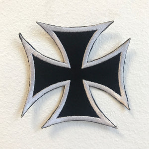 Iron Cross Black Biker Badge Iron on Sew on Embroidered Patch - Patches-Badges