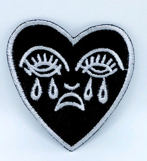 Crying Heart Embroidered - Iron On patch Black White patch