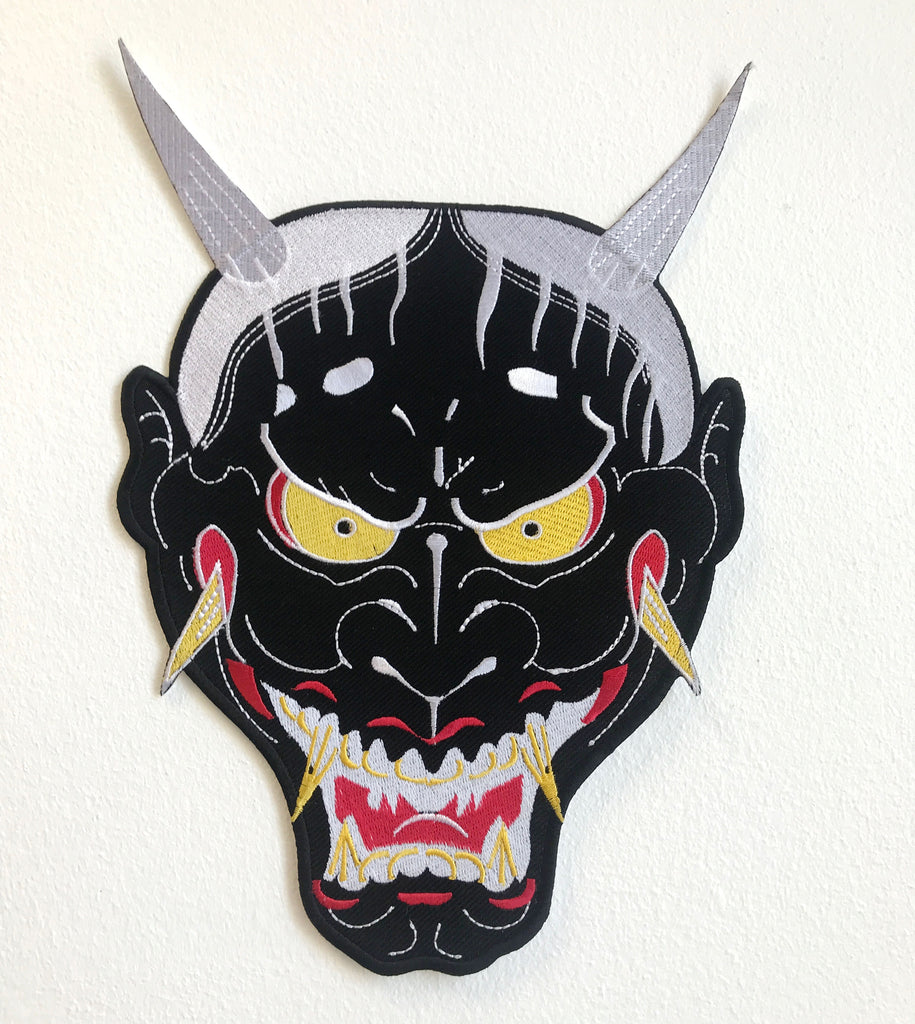 Demon Face cool colour Large Jacket Sew on Embroidered Patch