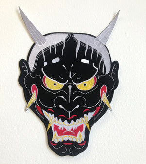 Demon Face cool colour Large Jacket Sew on Embroidered Patch - Patches-Badges