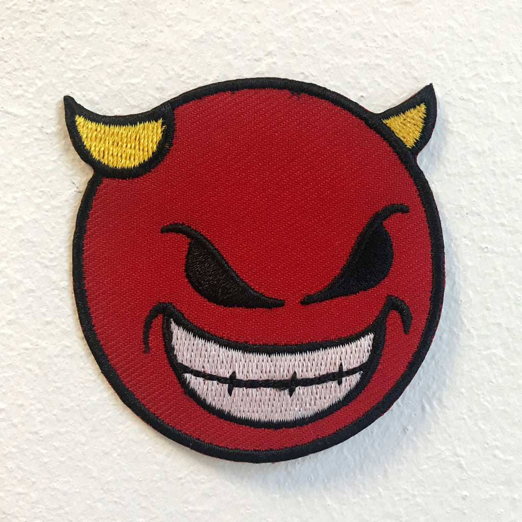 Devil Emoji with Smiley and Horn Badge Iron on Sew on Embroidered Patch - Patches-Badges