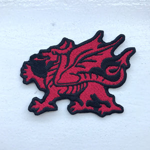 Fire Breathing Welsh Dragon Red Iron Sew on Embroidered Patch