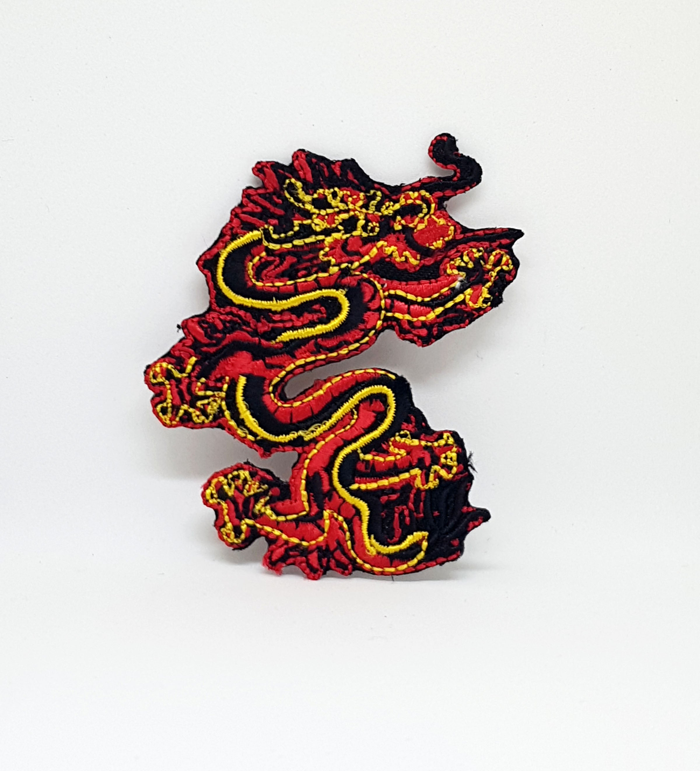 BLACK & GOLD CHINESE DRAGON Iron/Sew On Embroidered patch