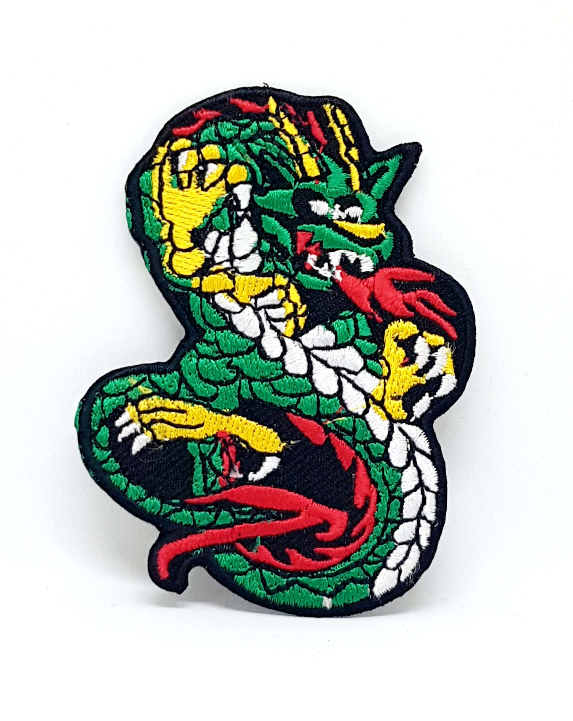 Chinese Dragon green and white Iron/Sew on Embroidered Patch - Patches-Badges