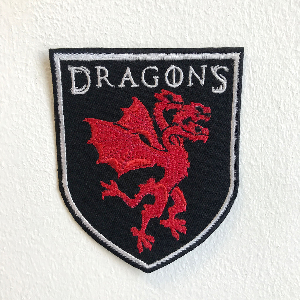 Three Headed Dragon Red Iron Sew on Embroidered Patch