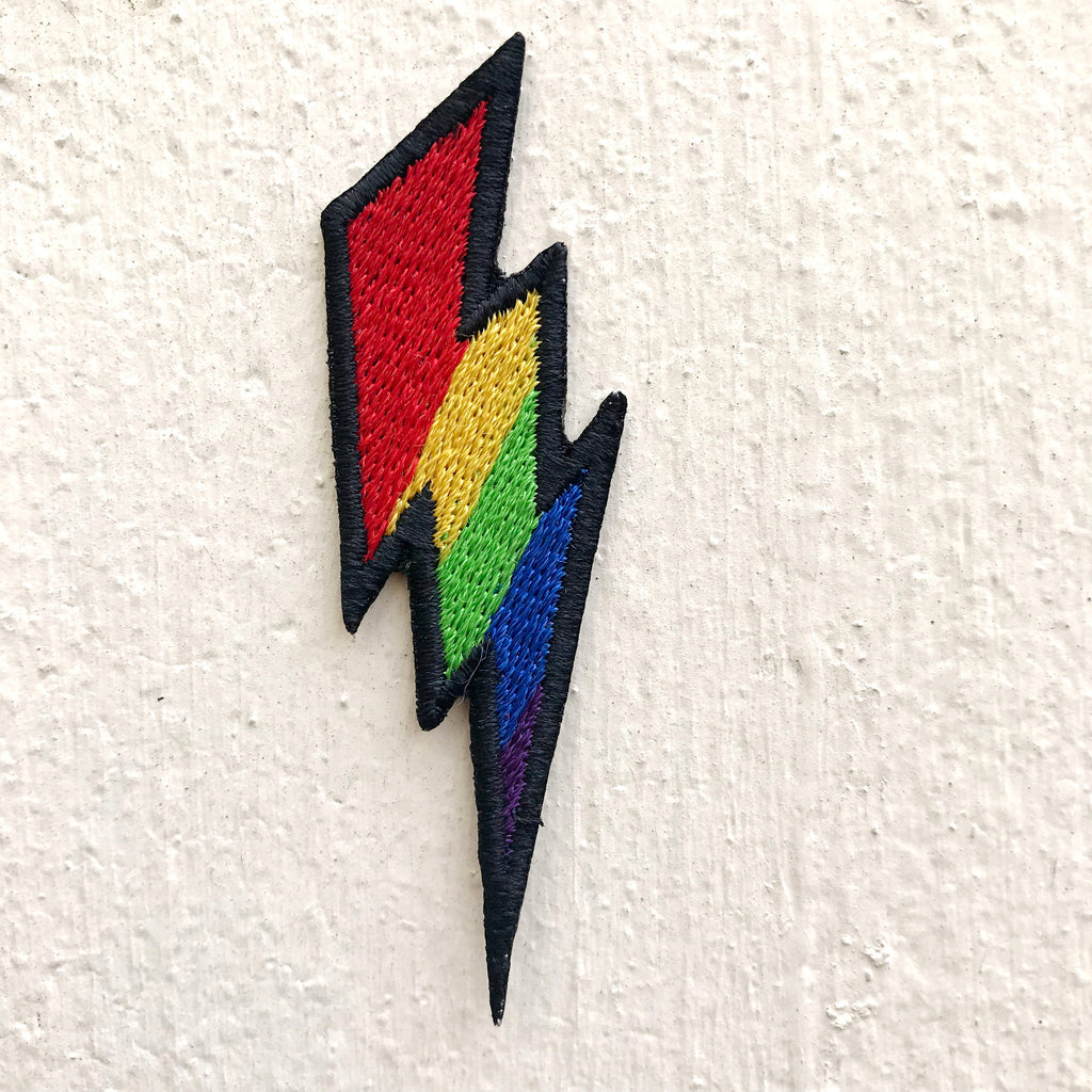 Lightning Bold symbol colourful Iron on Sew on Embroidered Patch - Patches-Badges