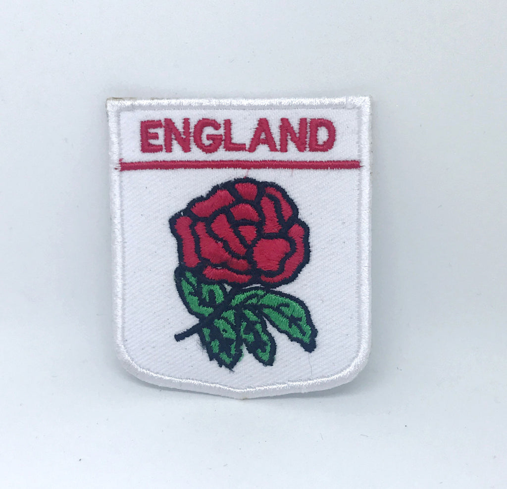 ENGLAND English St George's Cross Flag Flower Iron on Embroidered Patch