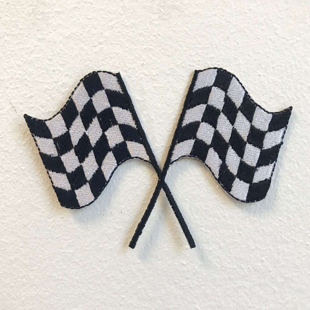 Formula one Racing Checkered Flag Iron on Sew on Embroidered Patch