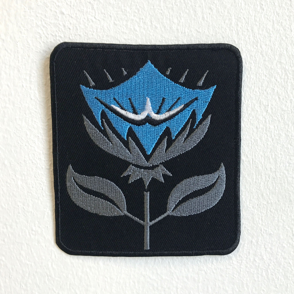 Shinning Flower Blue and Black Badge logo Iron Sew on Embroidered Patch