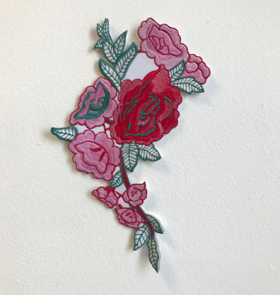 Rose Flower body Pink Sew On Embroidered Applique patches
