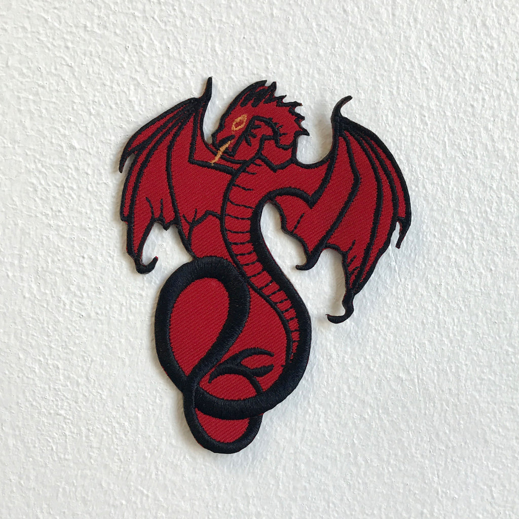 Fire Breathing Flying Red Dragon Iron Sew on Embroidered Patch - Patches-Badges