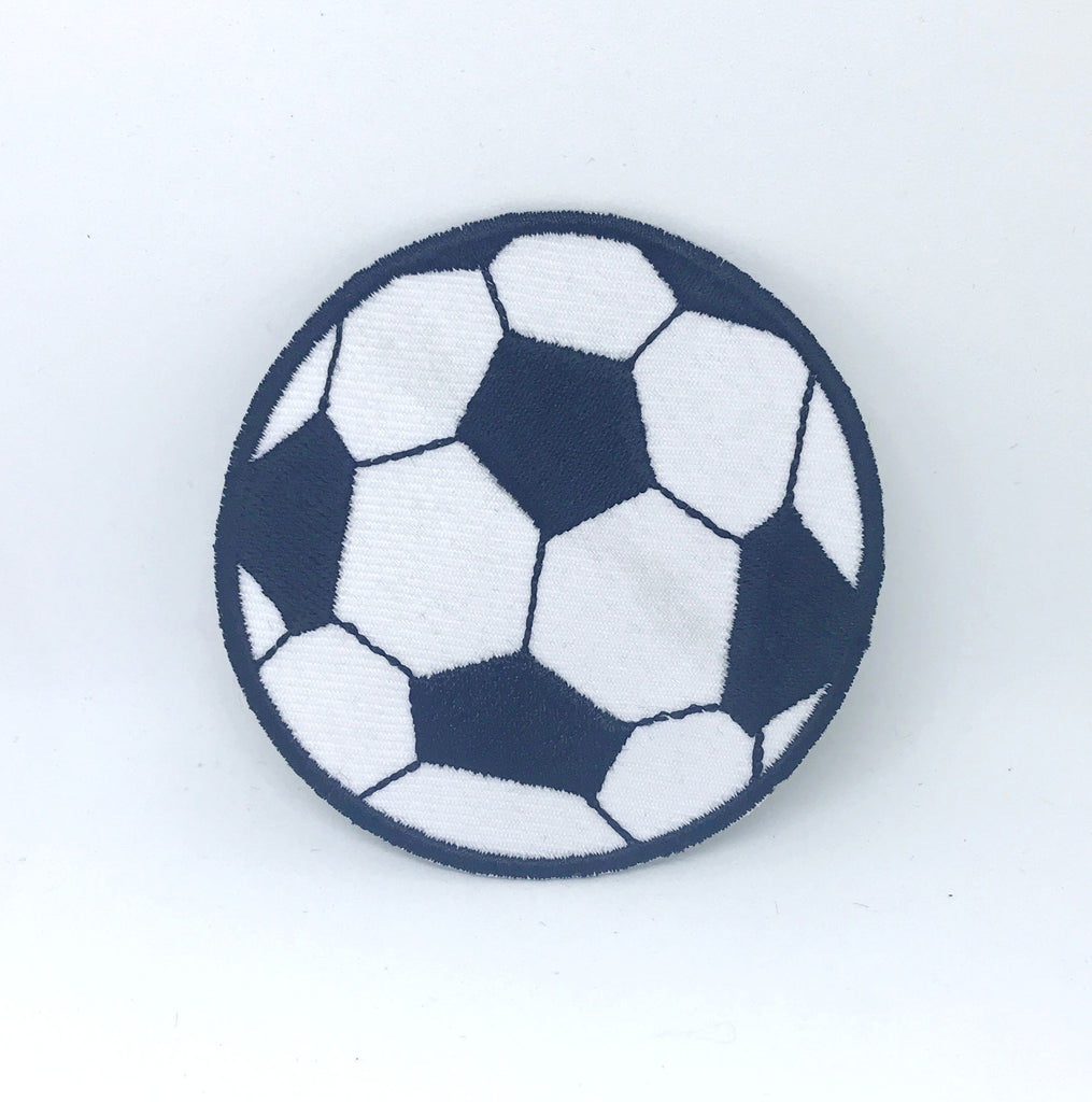 Football Soccer Logo Black and white Iron on Sew on Embroidered Patch