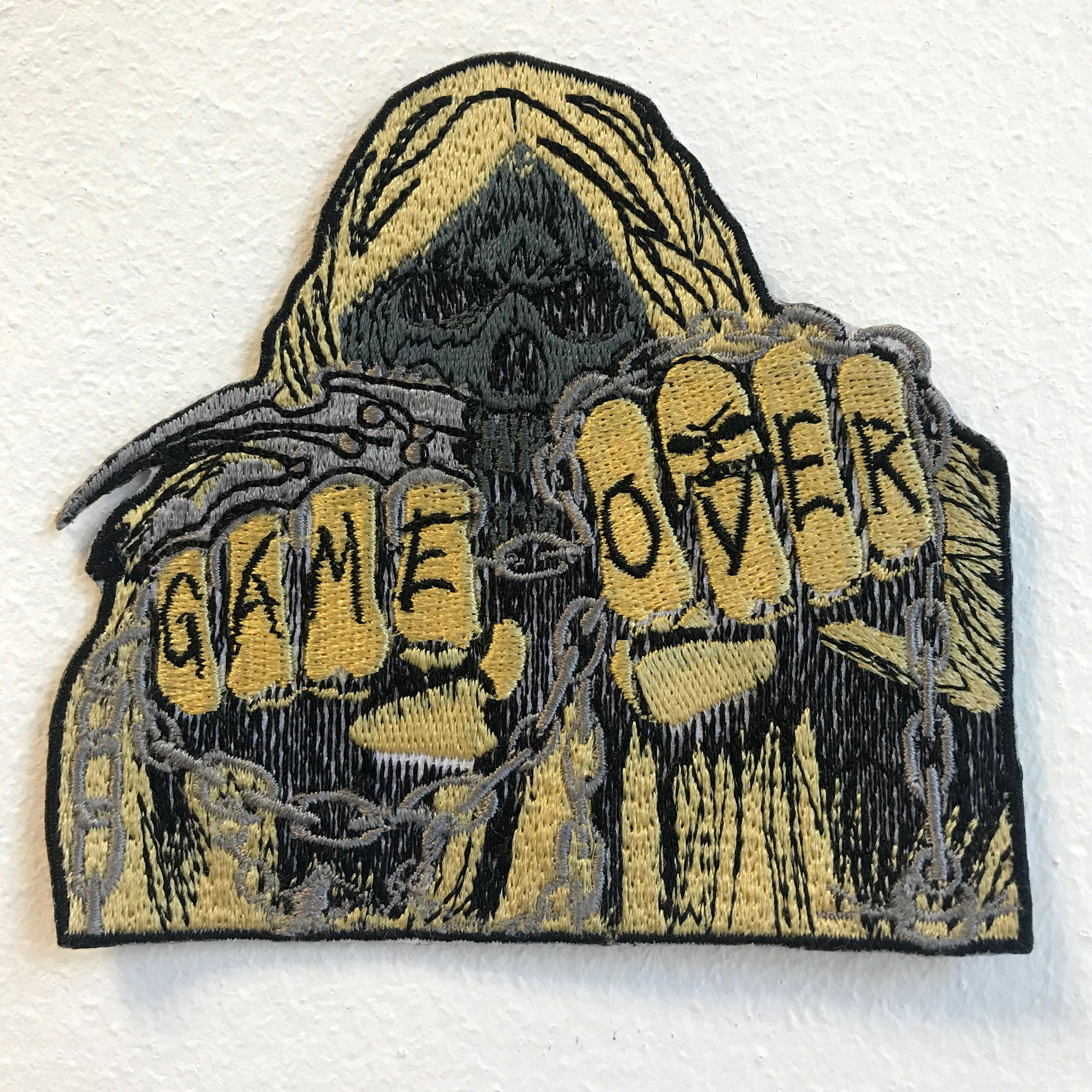 Game Over Hooded Skull Iron on Sew on Embroidered Patch