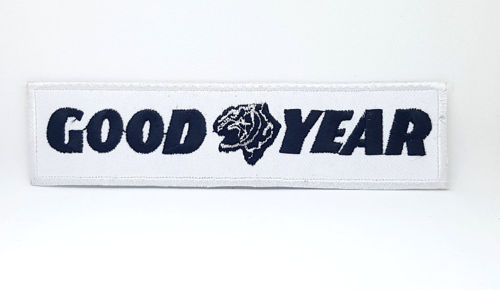 GOOD YEAR BLACK ON WHITE MOTOR SPORT IRON SEW ON EMBROIDERED PATCH - Patches-Badges