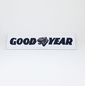 GOOD YEAR BLACK ON WHITE MOTOR SPORT IRON SEW ON EMBROIDERED PATCH