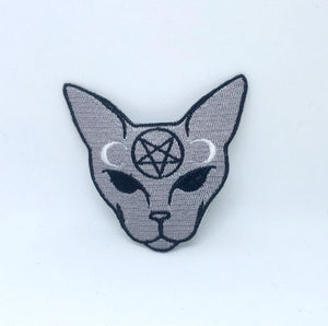 Goth Cat Meow Gothic badge Iron on Sew on Embroidered Patch