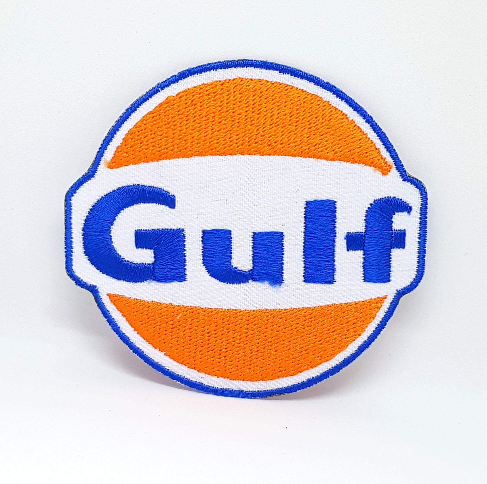 Gulf Oil Gasoline Vintage Biker F1 Racing Iron Sew on Embroidered Patch - Patches-Badges