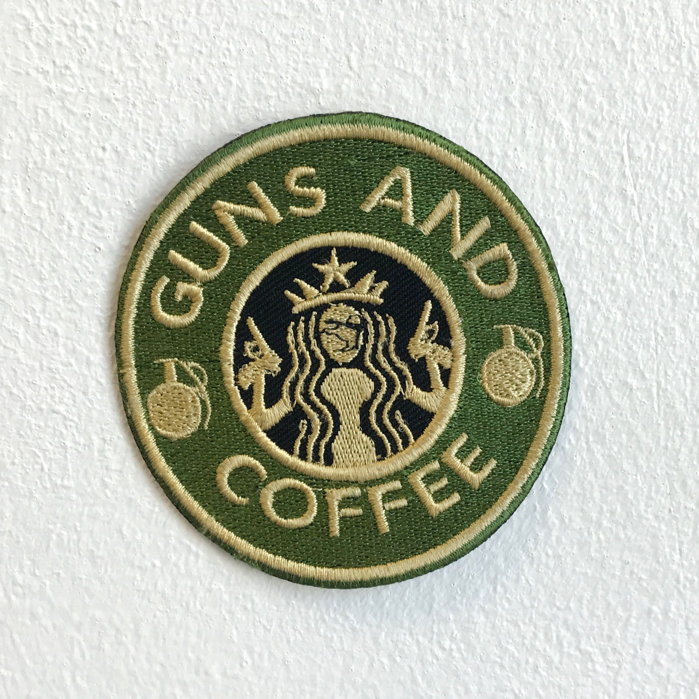 Guns and Coffee badge Iron Sew on Embroidered Patch