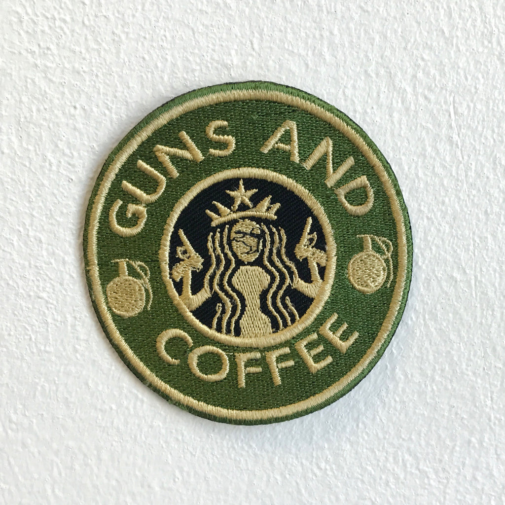 Guns and Coffee badge Iron Sew on Embroidered Patch - Patches-Badges