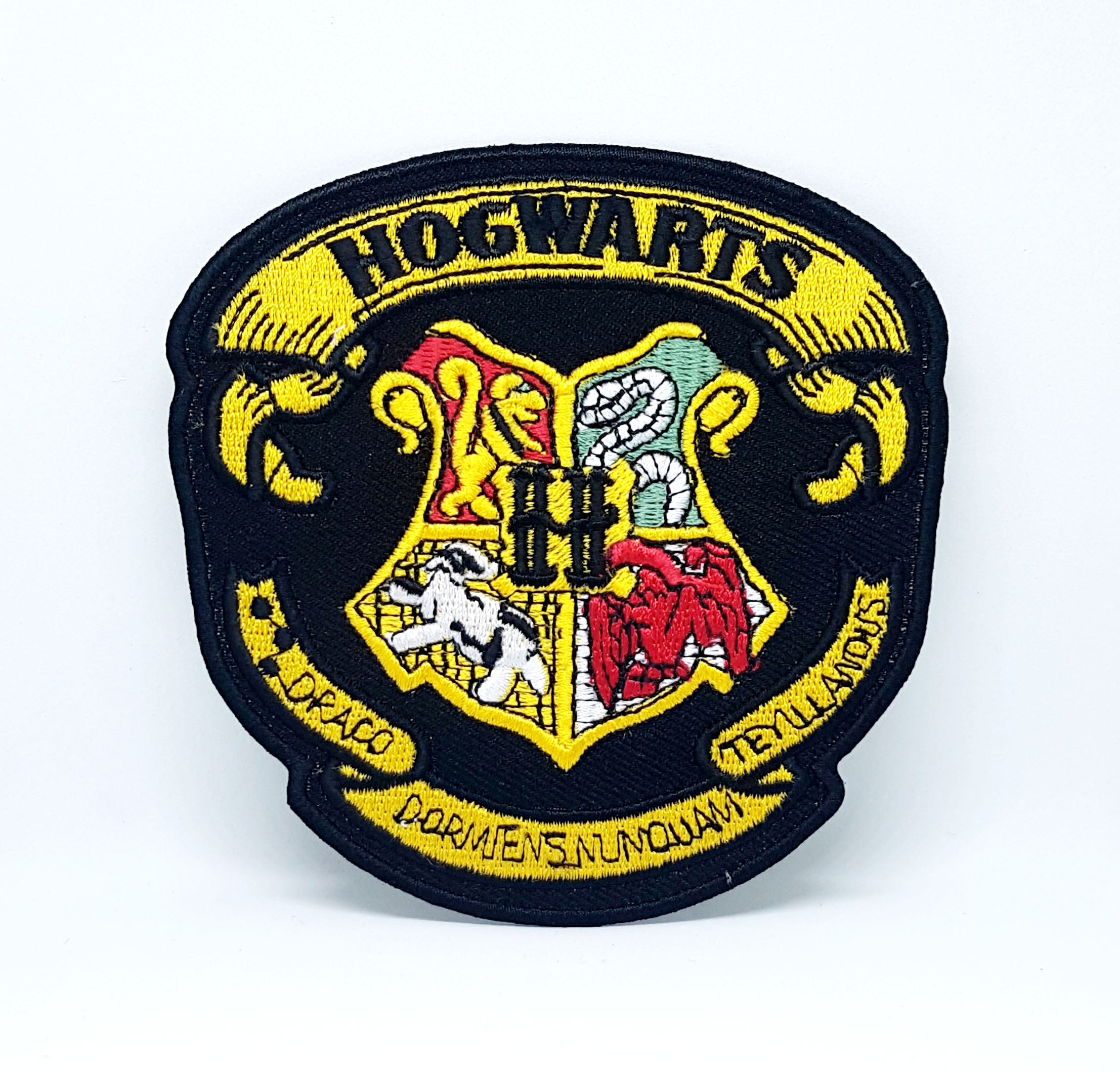 Harry Potter HOGWARTS Yellow on Black Iron Sew on Embroidered Patch - Patches-Badges