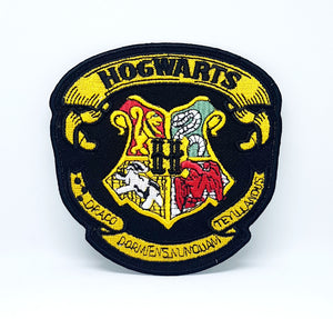 Harry Potter HOGWARTS Yellow on Black Iron Sew on Embroidered Patch