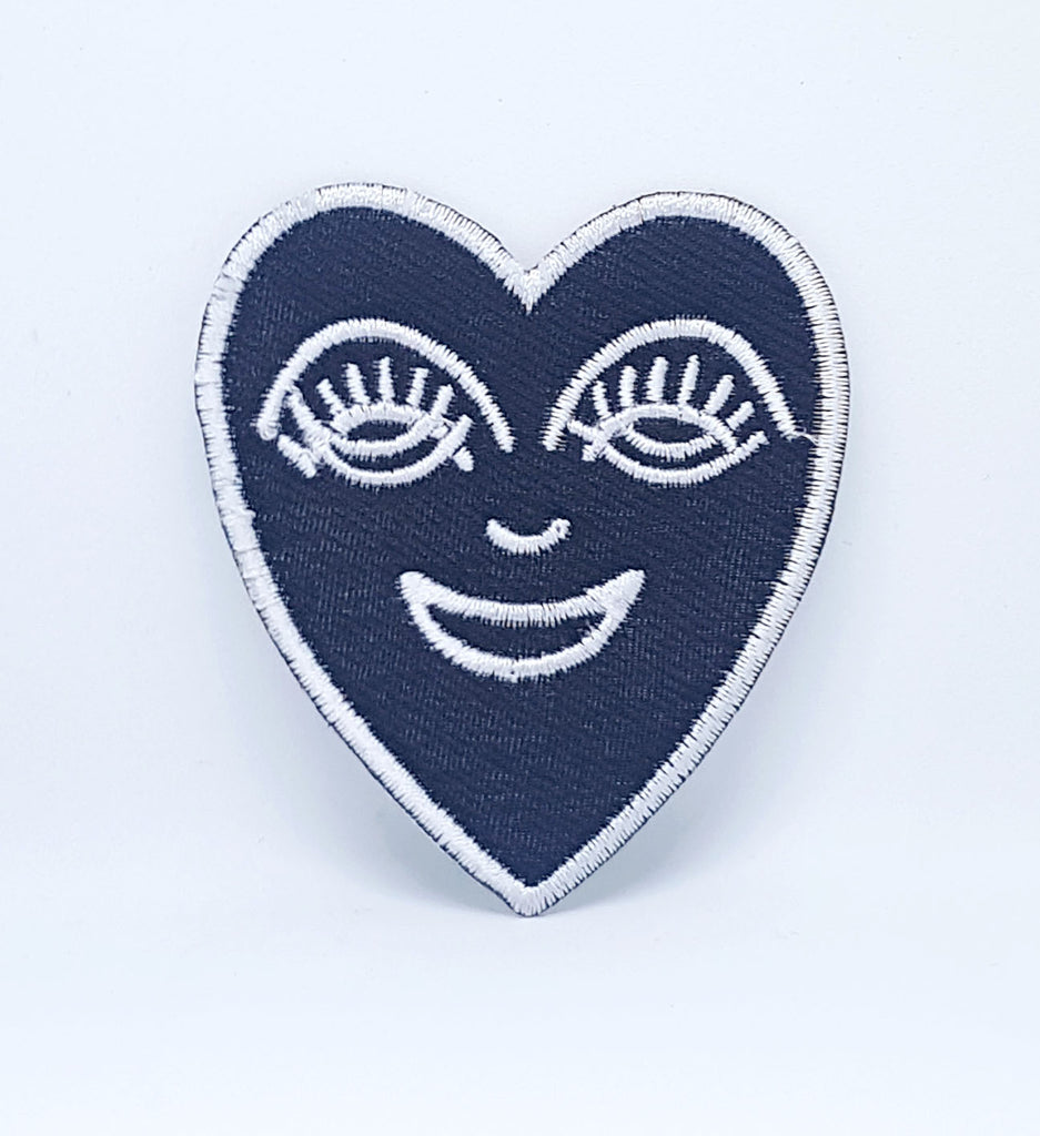 Happy Heart White on black Iron/Sew on Embroidered Patch- White