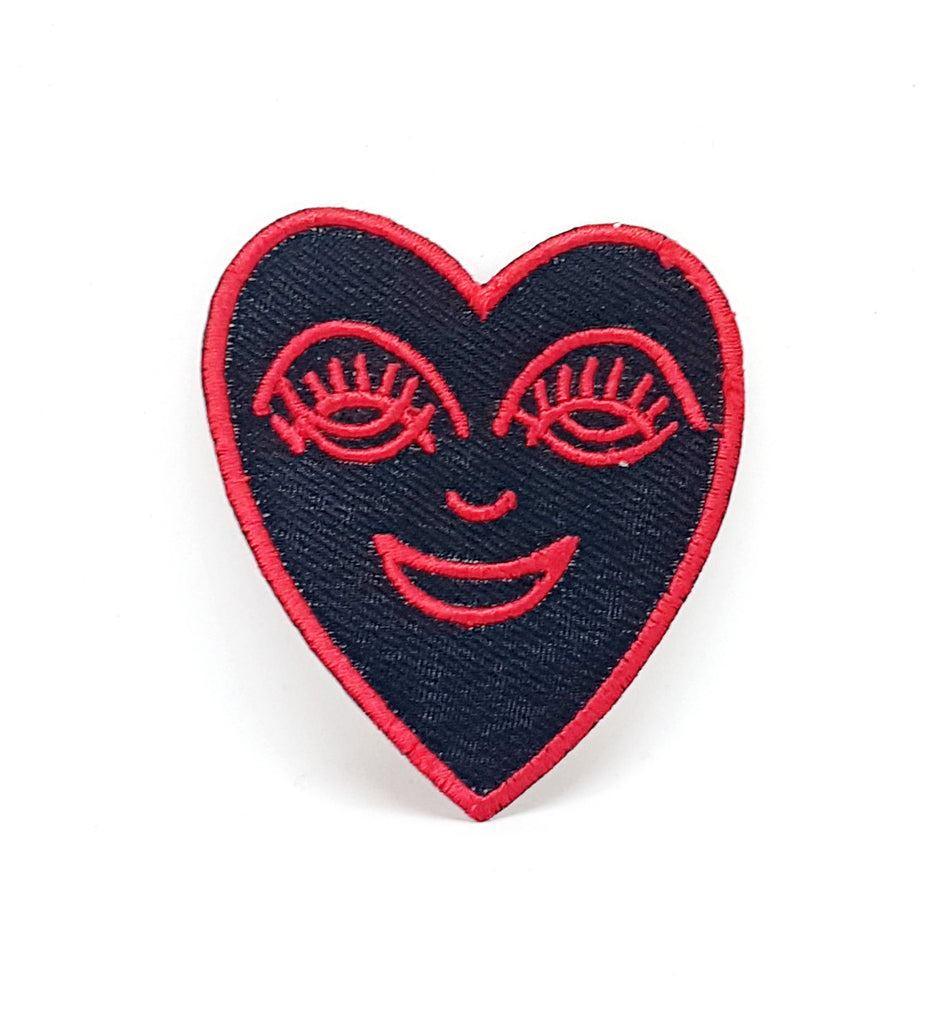 Happy Heart Red on black Iron/Sew on Embroidered Patch- Red - Patches-Badges