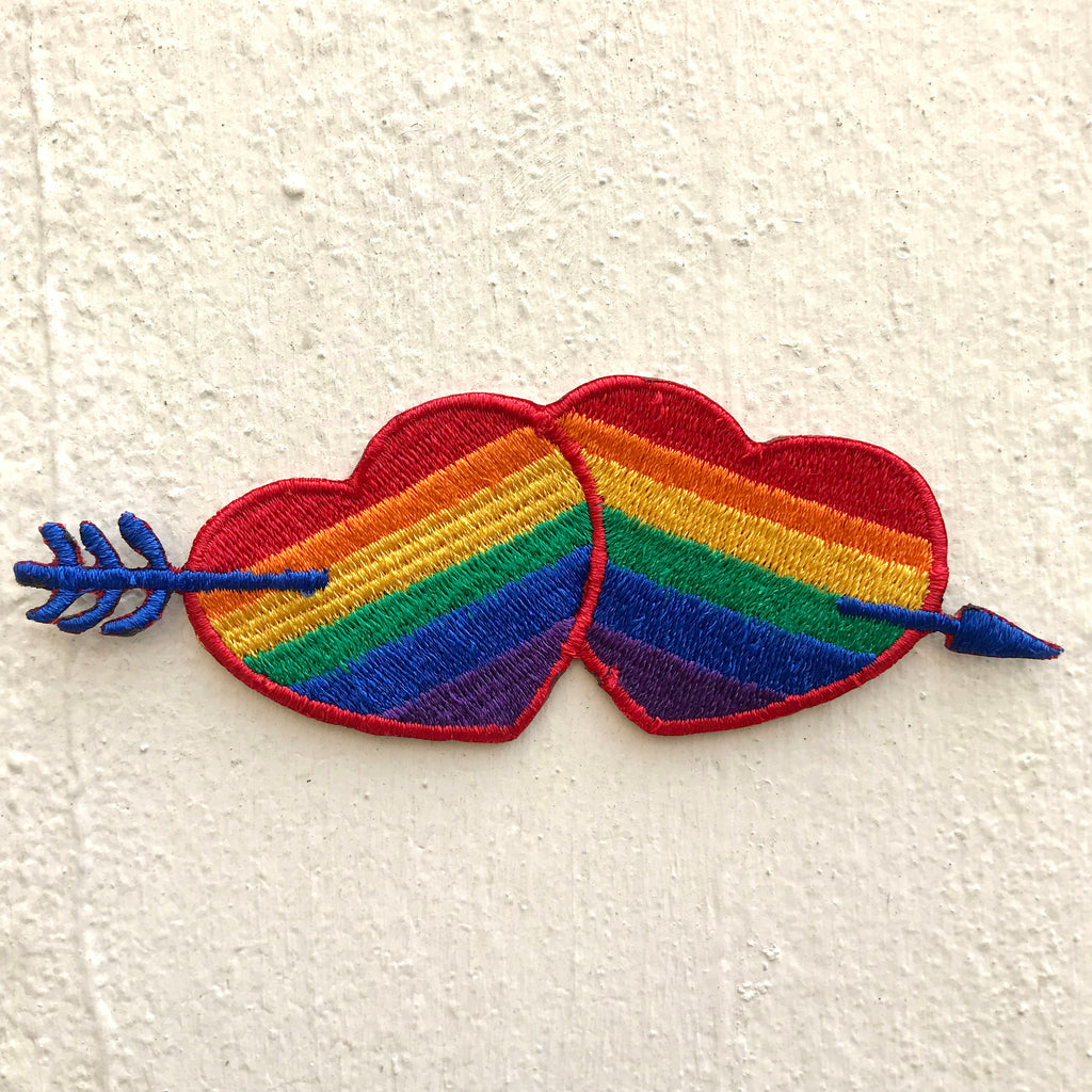 Two colourful hearts with arrow Iron on Sew on Embroidered Patch