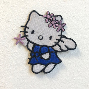 Hello Kitty Angel Blue Iron on Sew on Embroidered Patch