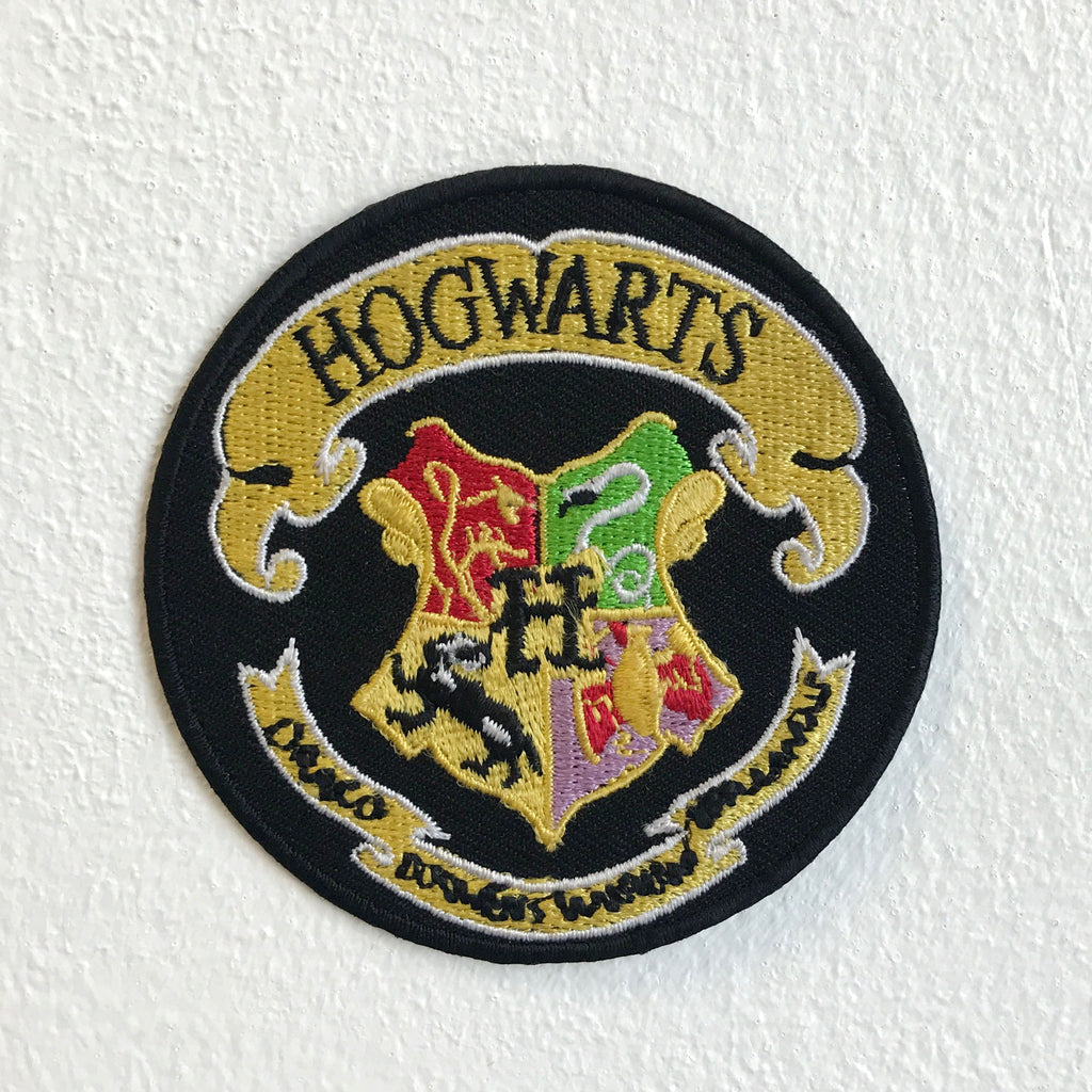 Harry Potter Hogwarts Yellow on Black Round Iron Sew on Embroidered Patch - Patches-Badges