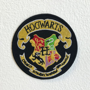 Harry Potter Hogwarts Yellow on Black Round Iron Sew on Embroidered Patch