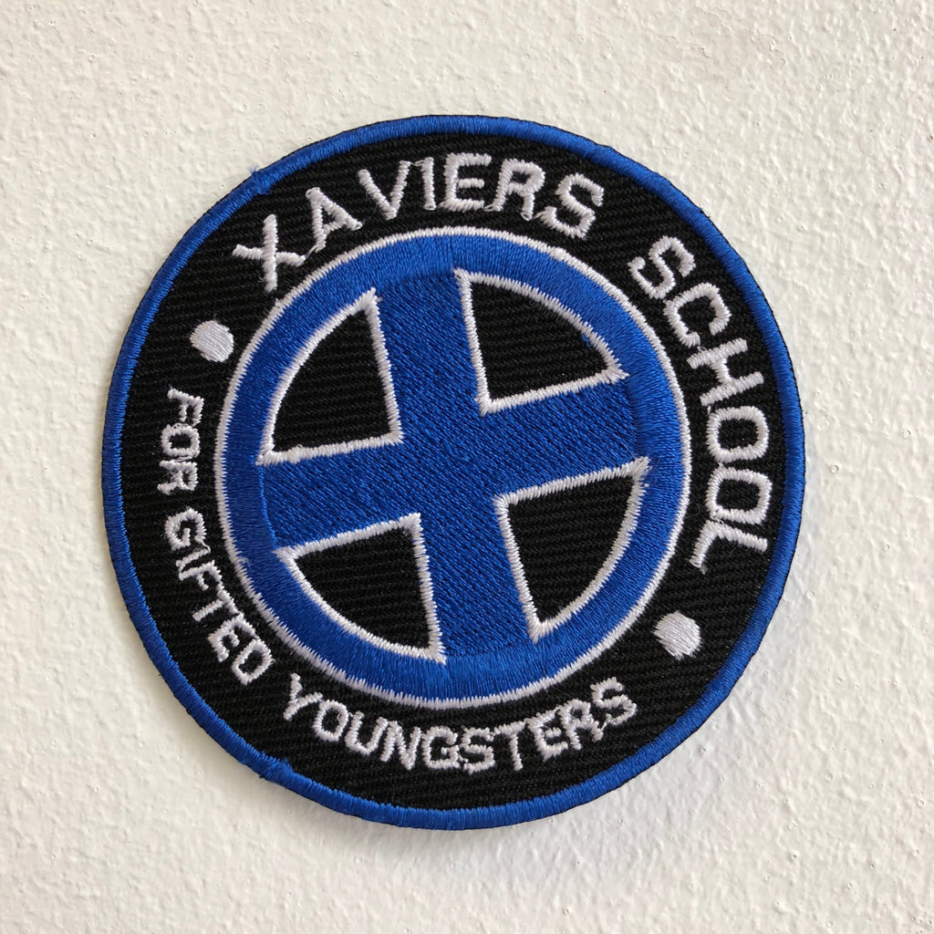 Marvel Avengers and DC Comics Iron or Sew on Embroidered Patches - XAVIERS SCHOOL Blue