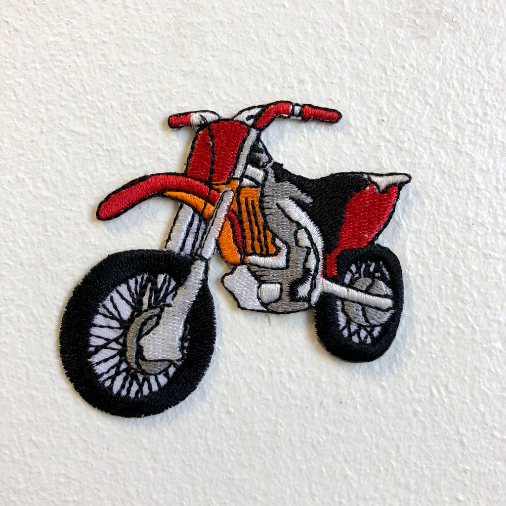 Dirt Bike Motorcross Racing Off Road Red Iron on Sew on Embroidered Patch