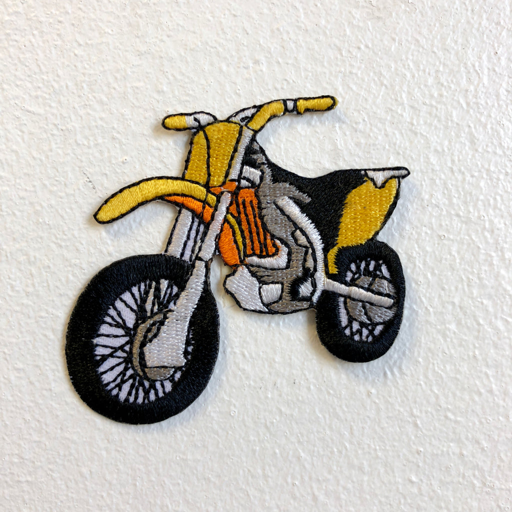 Dirt Bike Motorcross Racing Off Road Yellow Iron on Sew on Embroidered Patch - Patches-Badges