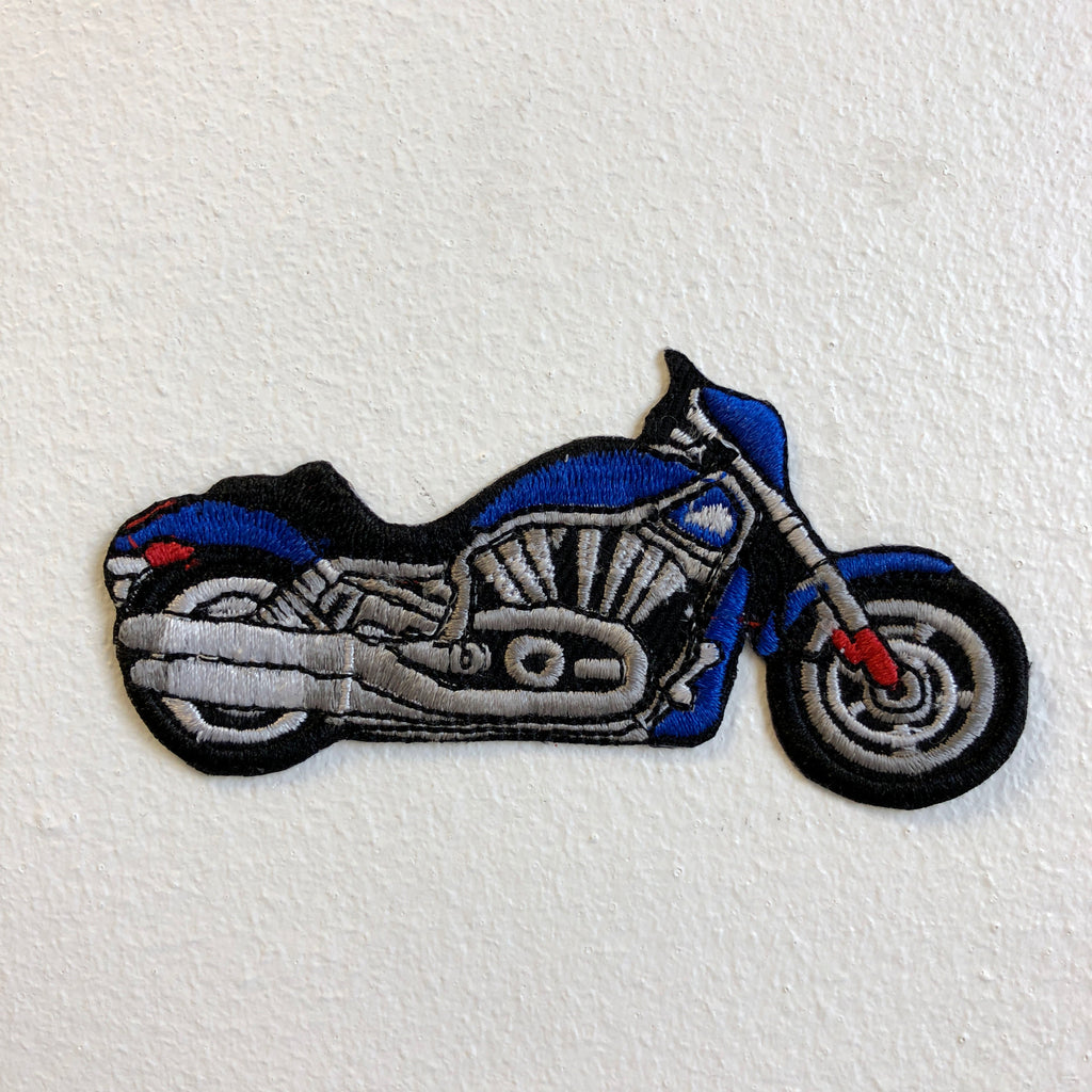 Cuiser Motorbike Hog Biker Blue Iron on Sew on Embroidered Patch - Patches-Badges