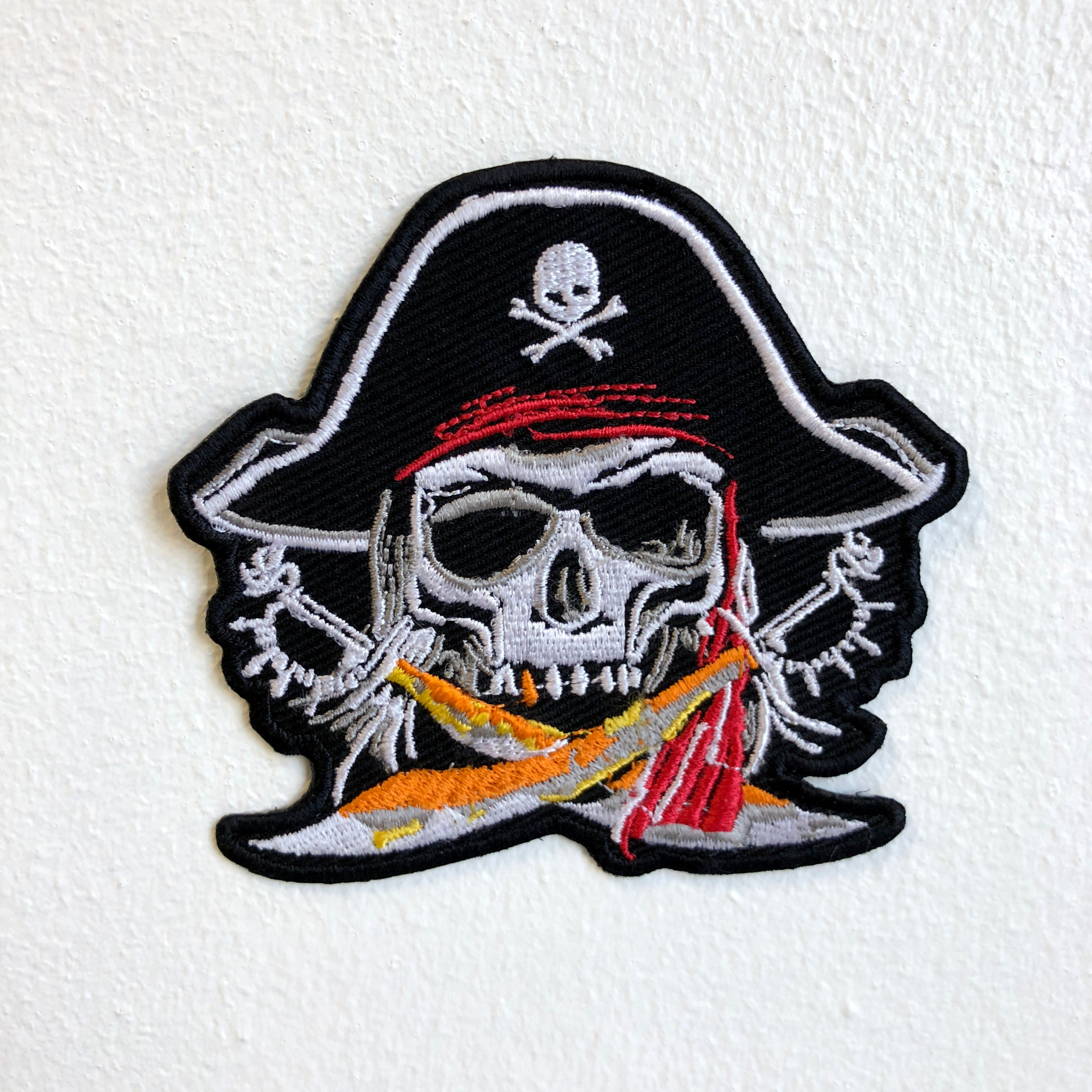Pirate Skull with had and Swords Iron Sew on Embroidered Patch