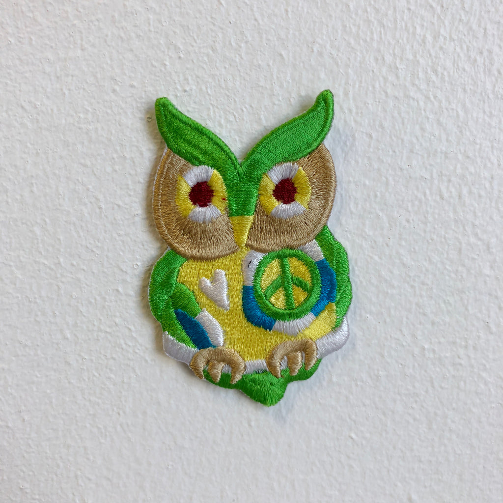 Cute Owl with Peace Logo Iron Sew on Embroidered Patch - Patches-Badges