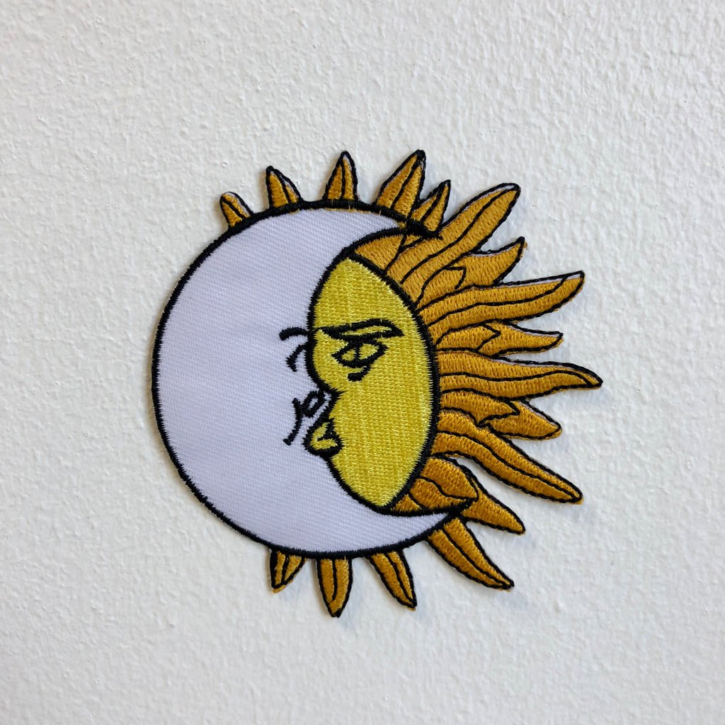 Sun and Moon Eclipse Iron Sew on Embroidered Patch