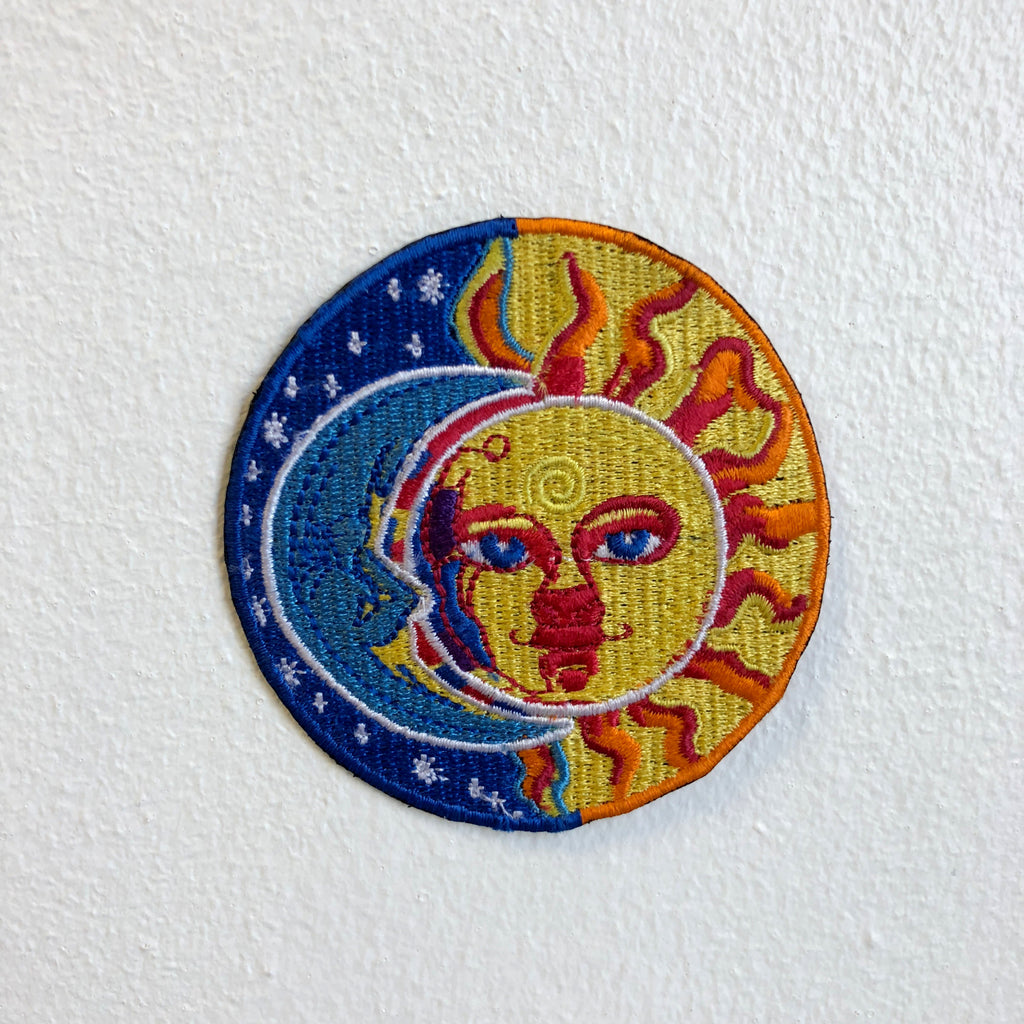 Blue Moon and Yellow Sun Eclipse Valentino ROSI Iron Sew on Embroidered Patch