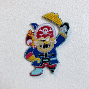 Striking Pirate with Eye Patch white Iron Sew on Embroidered Patch