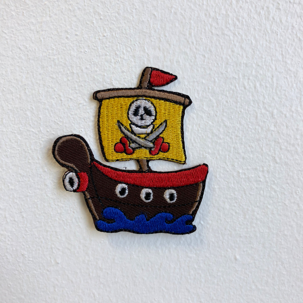 Cute Pirate Ship Kids Toy Iron Sew on Embroidered Patch - Patches-Badges