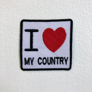 I Love My Country Badge Iron Sew on Embroidered Patch - Patches-Badges