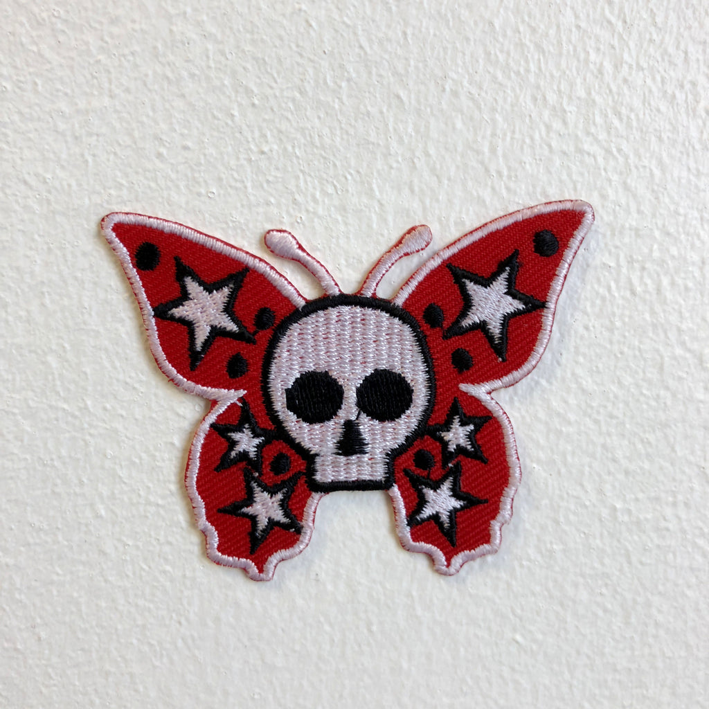 Butterfly with Skull Red Iron Sew on Embroidered Patch - Patches-Badges