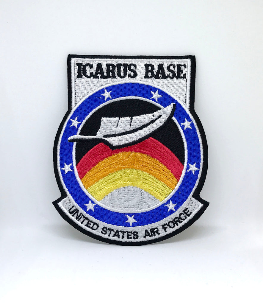 ICARUS BASE United State Air Force Iron Sew On Embroidered Patch - Patches-Badges