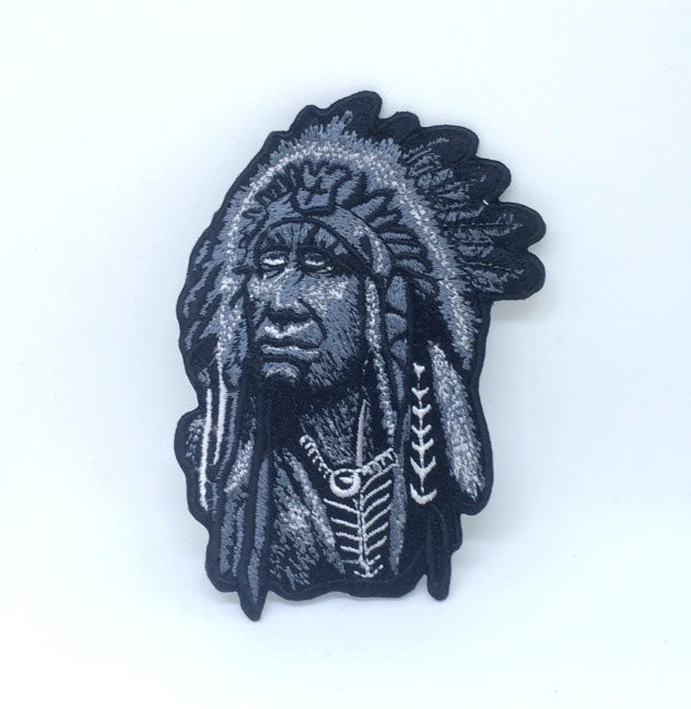 Chief Native American Indian Iron on Sew on Embroidered Patch