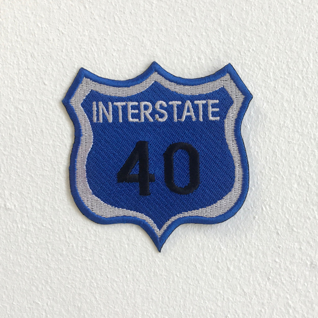 Interstate 40 highway road sign America Iron Sew On Embroidered Patch