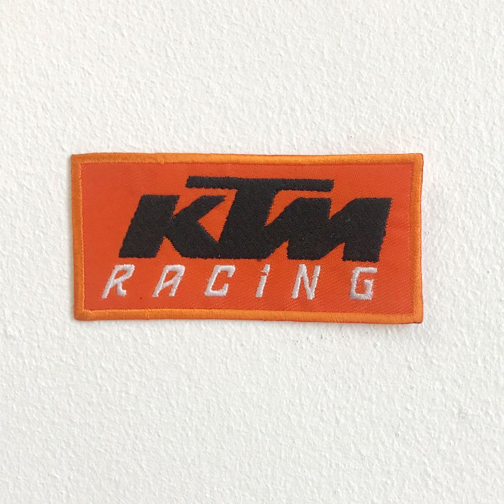KTM Motorsports Biker logo iron on Sew on Embroidered Patch - Orange