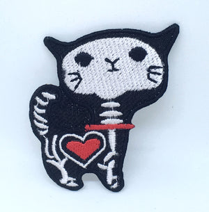 Animal dogs cats snakes honey bee bear spider lamb Iron/Sew on Patches - Skeleton Cat - Patches-Badges