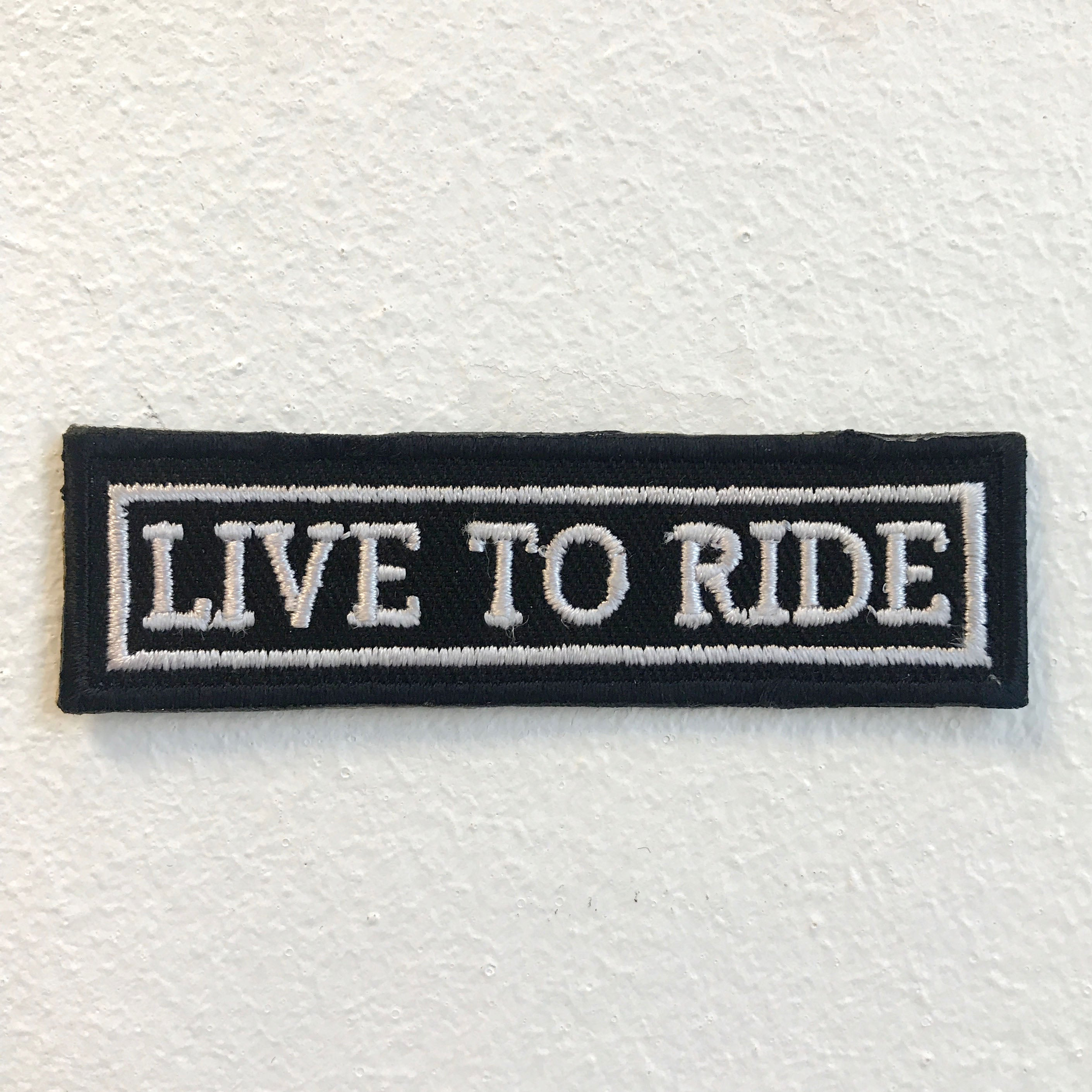 Live to Ride Biker Rider Badge Iron on Sew on Embroidered Patch