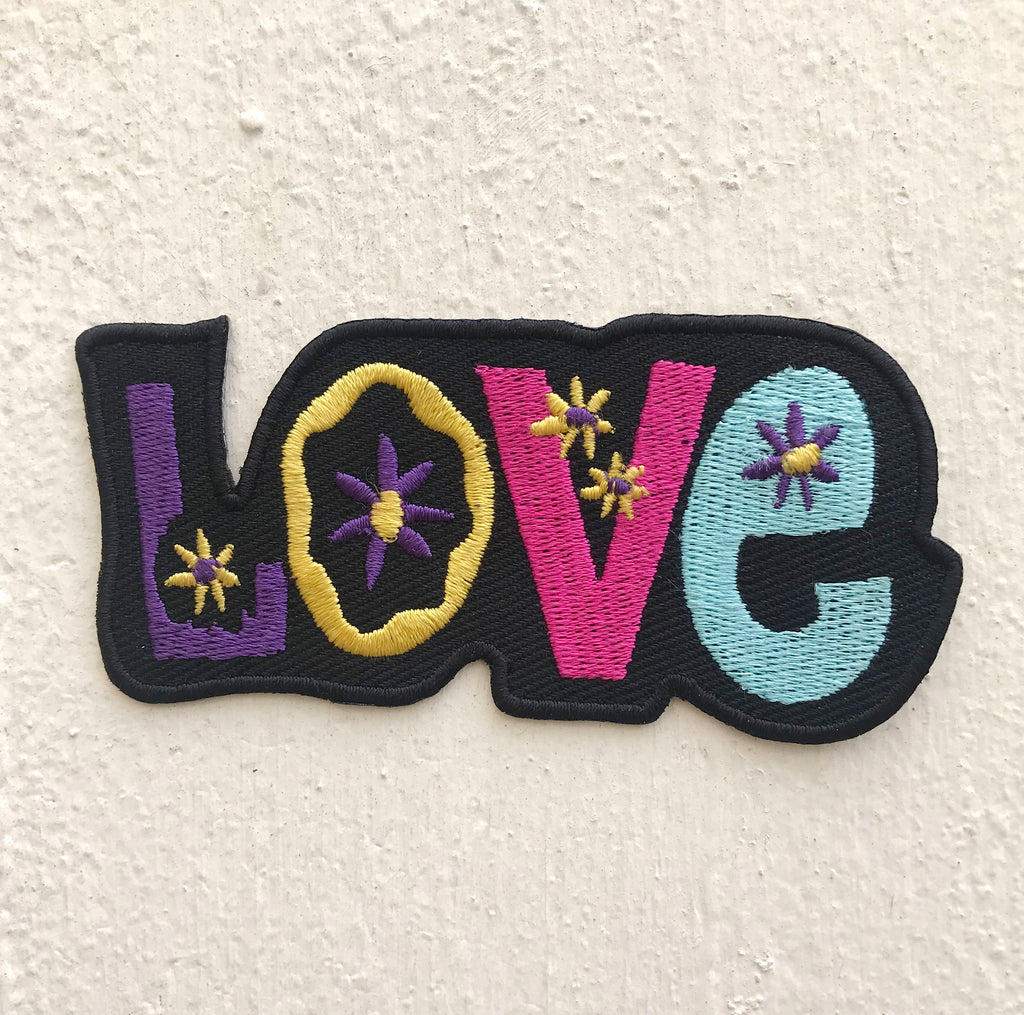 Beautiful Love Characters with flower Iron on Sew on Embroidered Patch - Patches-Badges